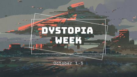 Plantilla de diseño de Dystopia Week Event Announcement with Cyberspace Illustration FB event cover