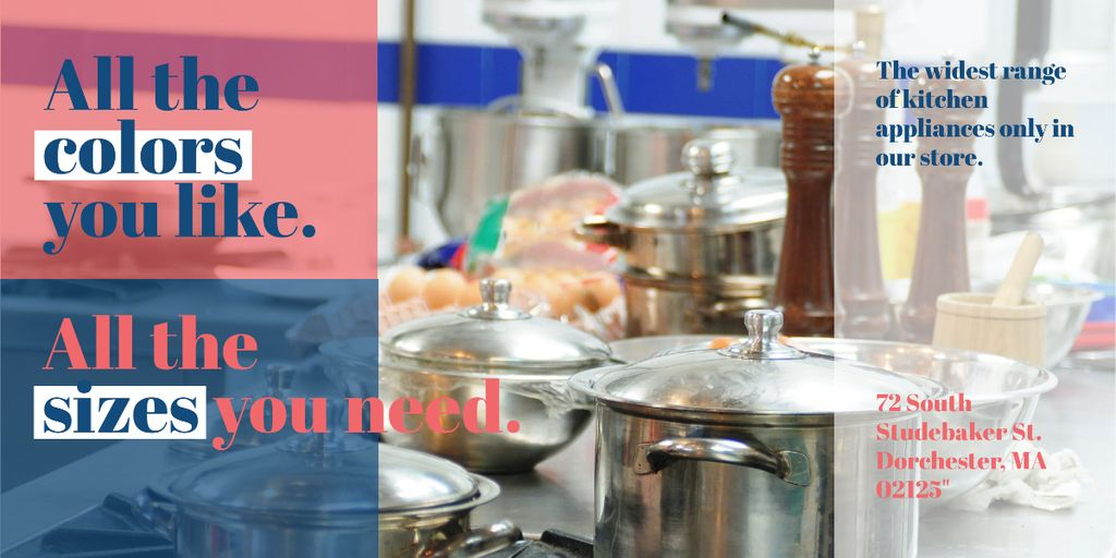 Kitchen Utensils Store Ad Pots on Stove Image – шаблон для дизайна
