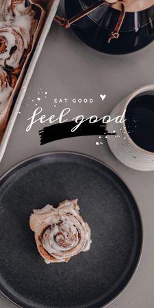 Platilla de diseño Cup of Coffee and Cinnamon Bun Graphic