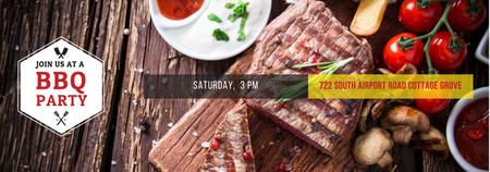 BBQ Party Invitation with Grilled Steak Tumblr – шаблон для дизайна