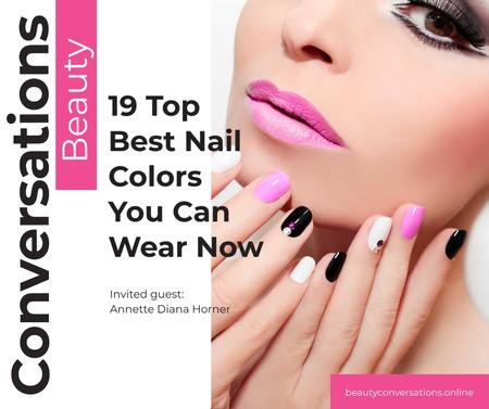 Female Hands with Pastel Nails for Manicure trends Facebook Modelo de Design