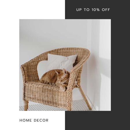 Ontwerpsjabloon van Instagram AD van Home Decor Sale with comfortable Armchair