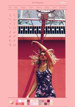 Plantilla de diseño de Beautiful Young Woman posing in City Poster