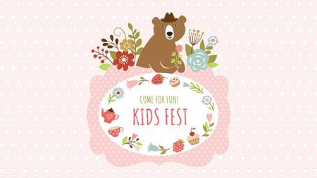 Plantilla de diseño de Kids Festival Announcement with Cute Bear FB event cover