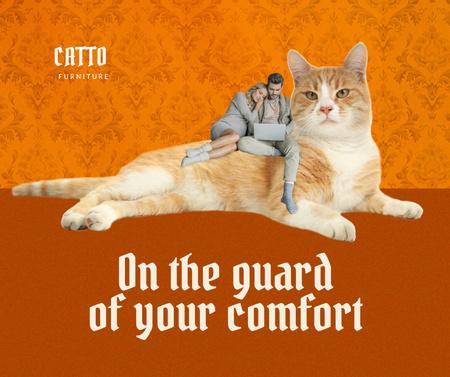Modèle de visuel Couple sitting on Huge Funny Cat - Facebook