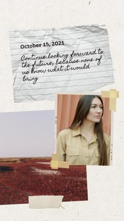 Autumn Inspiration with Smiling Woman waving Instagram Video Story Modelo de Design