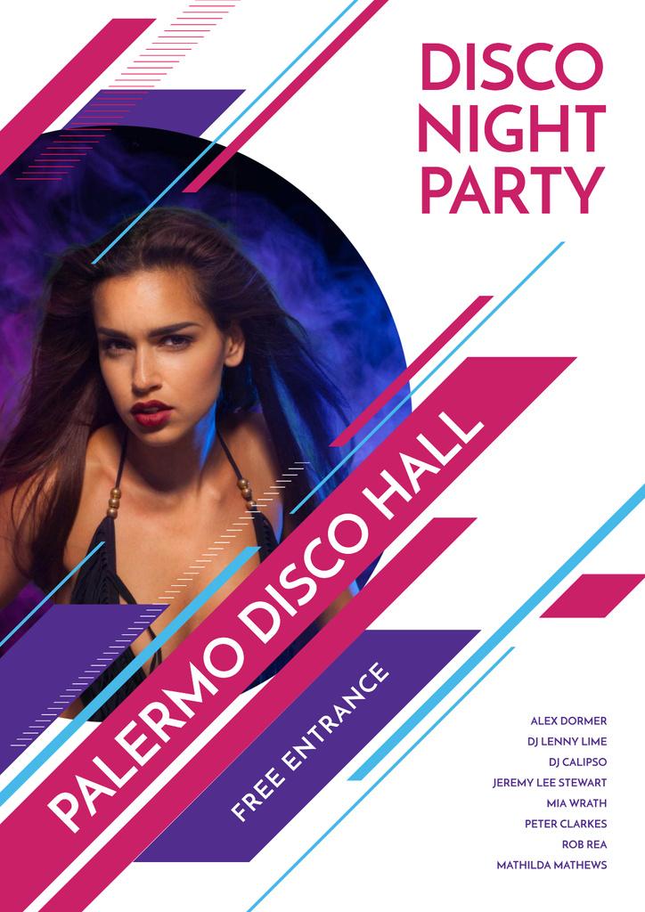 Disco night party with Attractive Girl — Créer un visuel
