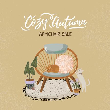 Autumn Sale Announcement with Cozy Armchair Instagram – шаблон для дизайну
