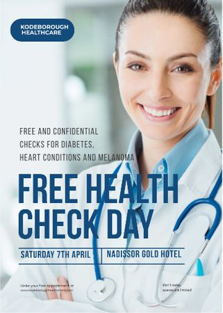 Plantilla de diseño de Free health check offer with smiling Doctor Flayer