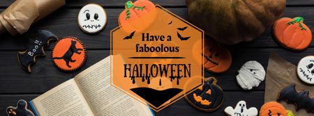 Plantilla de diseño de Halloween Celebration with Pumpkins Facebook cover