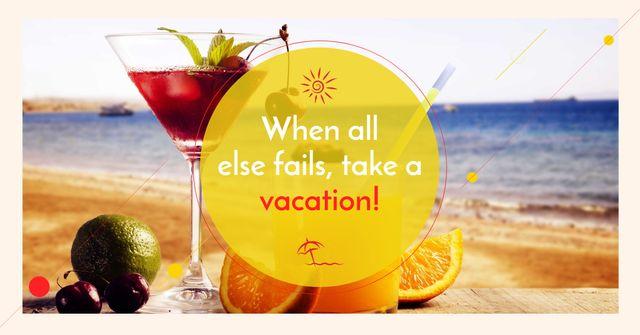 Summer cocktail on tropical vacation Facebook AD Modelo de Design