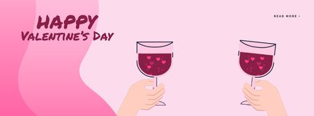 Plantilla de diseño de Couple toasting Wine on Valentine's Day Facebook Video cover