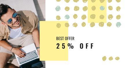 Plantilla de diseño de Gadgets Offer with Man typing on Laptop Facebook AD