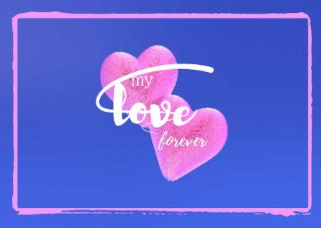 Plantilla de diseño de Cute Love Phrase with Pink Hearts Card