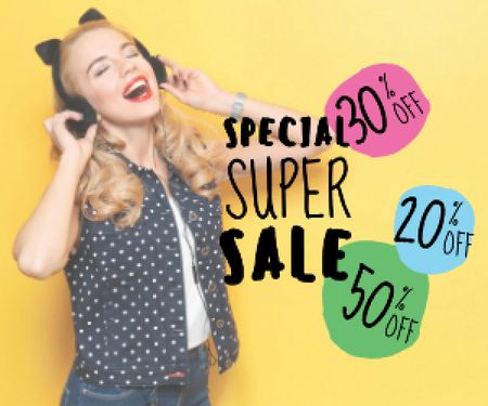 Plantilla de diseño de special super sale yellow banner with young woman in headphones Medium Rectangle