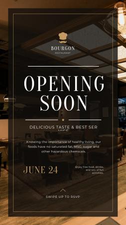 Restaurant Opening Announcement Classic Interior Instagram Story Modelo de Design