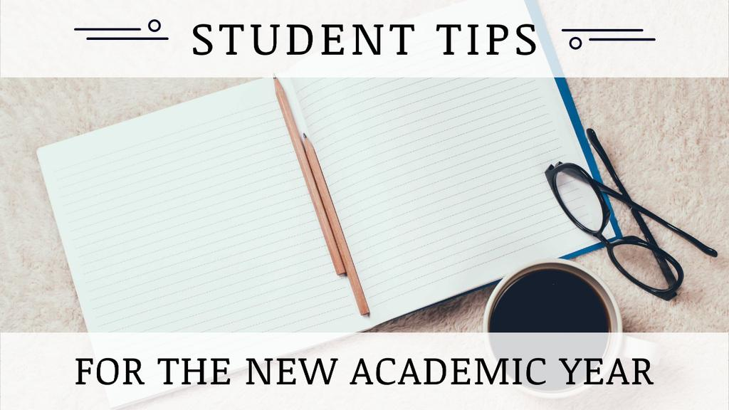 Template di design Student Tips Open Notebook and Coffee Youtube Thumbnail