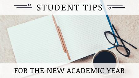 Student Tips Open Notebook and Coffee Youtube Thumbnail Design Template