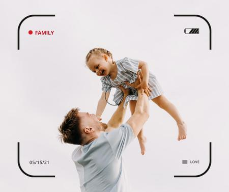 Ontwerpsjabloon van Facebook van Family Day Inspiration with Father holding Child