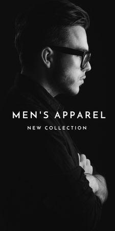 Ontwerpsjabloon van Graphic van Man in stylish costume and glasses