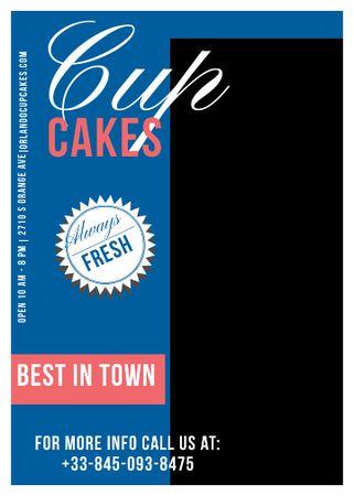 Modèle de visuel Cupcakes Cafe Ad in Blue - Flayer