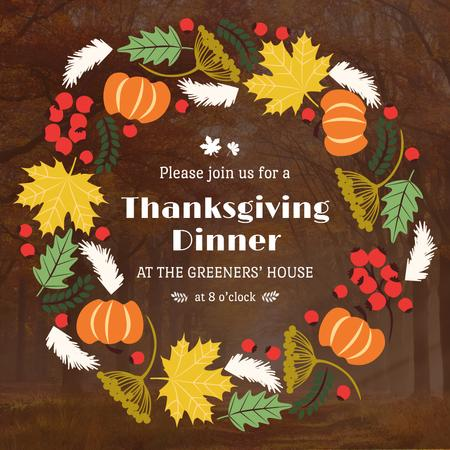 Thanksgiving Dinner invitation Pumpkins and Berries Instagram AD – шаблон для дизайну
