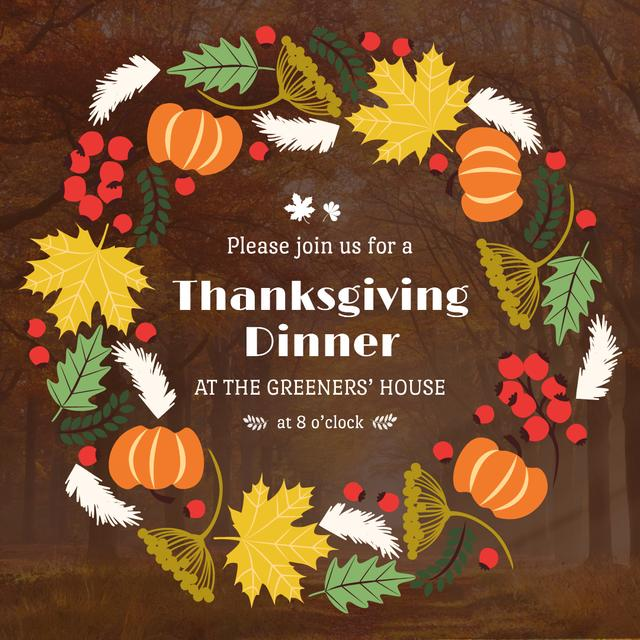 Thanksgiving Dinner invitation Pumpkins and Berries Instagram AD Tasarım Şablonu