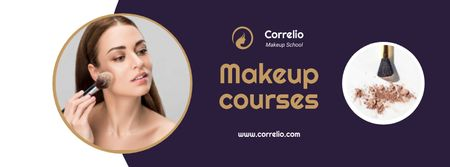 Makeup Courses Annoucement with Woman applying makeup Facebook cover Modelo de Design