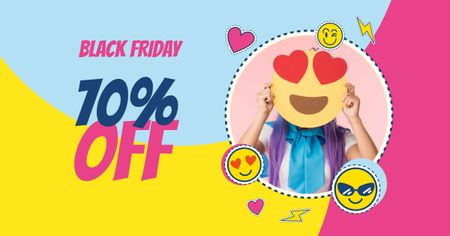 Designvorlage Black Friday Sale Offer with Woman holding Emoji für Facebook AD
