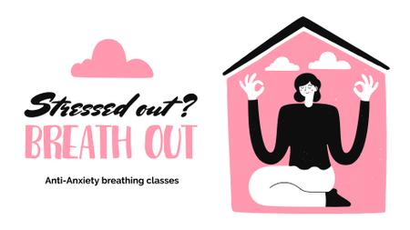 Woman meditating at Breathing classes FB event cover Design Template