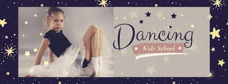 Dancing Kids School with Cute Ballerina Facebook coverデザインテンプレート