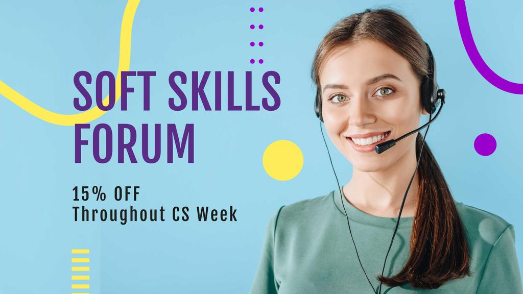 Soft Skills Forum Announcement with Female Consultant FB event cover – шаблон для дизайна