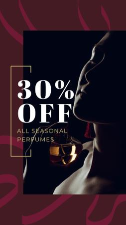 Perfumes Sale Offer with Woman applying Perfume Instagram Story Design Template