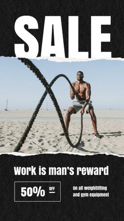 Ontwerpsjabloon van Instagram Story van Sale Ad with Muscular Strong Man on Beach