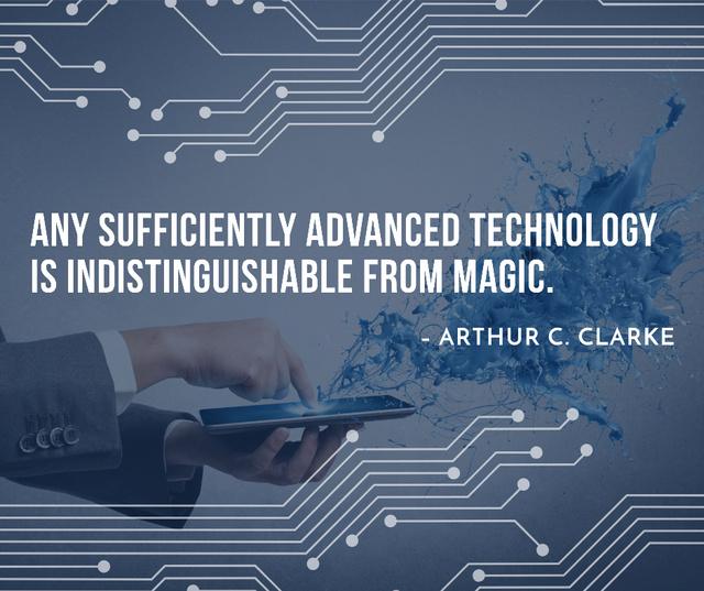 Plantilla de diseño de Technology Quote with Man using Tablet Facebook