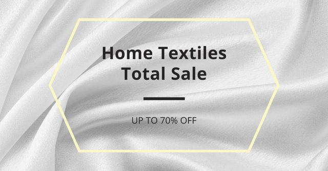 Home Textiles event announcement White Silk Facebook AD Modelo de Design