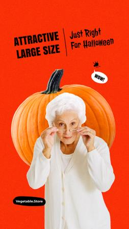 Template di design Vegetable Store Offer with Funny Grandma and Huge Pumpkin Instagram Story