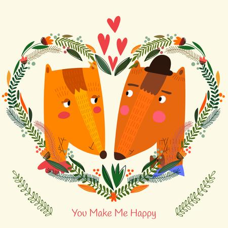Valentine's day Greeting with Foxes Instagram Tasarım Şablonu