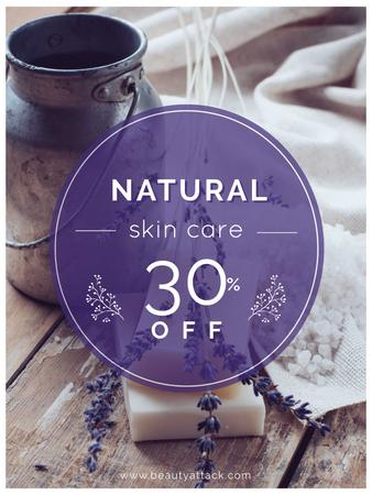 Plantilla de diseño de Natural skincare sale with lavender Soap Poster US