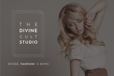 Plantilla de diseño de Beauty Studio Woman with Blonde Hair Gift Certificate