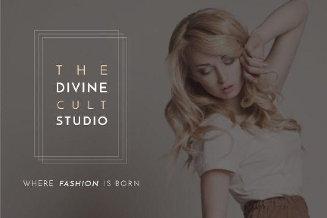 Beauty Studio Woman with Blonde Hair Gift Certificate Tasarım Şablonu