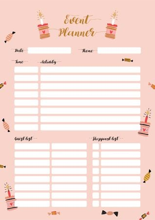Ontwerpsjabloon van Schedule Planner van Event Planner with Candies and Cakes