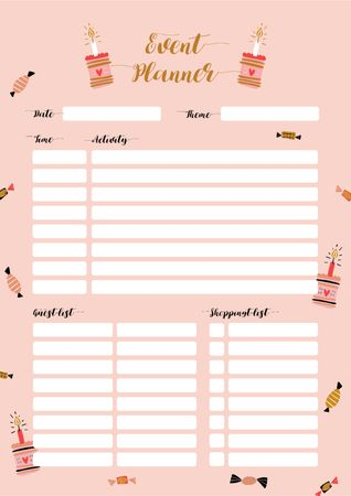 Plantilla de diseño de Event Planner with Candies and Cakes Schedule Planner