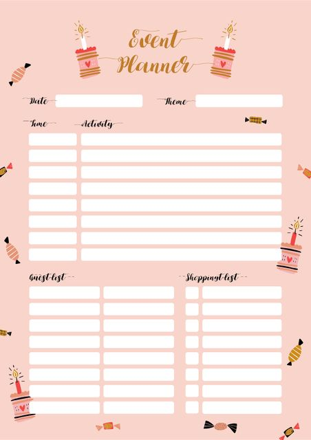 Event Planner with Candies and Cakes Schedule Plannerデザインテンプレート