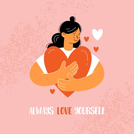 Plantilla de diseño de Girl Power Inspiration with Woman holding Heart Instagram