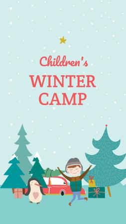 Children's Winter Camp Announcement Instagram Story Modelo de Design