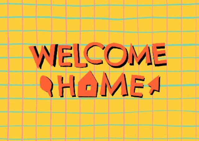 Welcome Home Greeting on Grid Pattern Card – шаблон для дизайну