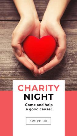 Ontwerpsjabloon van Instagram Story van Charity Night Announcement with Red Heart in Hands