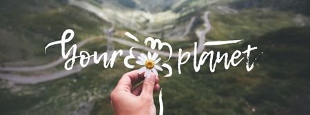 Eco Concept with Daisy Flower and Mountains Facebook cover Modelo de Design