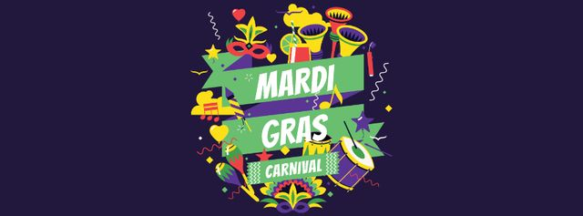 Mardi Gras Carnival Announcement with Holiday Attributes Facebook cover Tasarım Şablonu